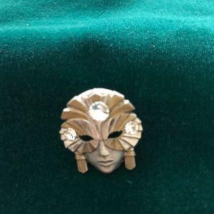 Vintage Mardi Gras mask pin